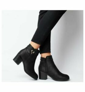 Office Attract-ankle Strap Boot BLACK WITH OFFICE BRANDED CHARM