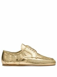 Prada lace-up calf leather shoes - GOLD