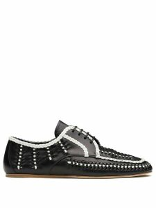 Prada two-tone woven lace-up shoes - Black