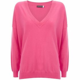 Mint Velvet Pink V-Neck Boxy Knit