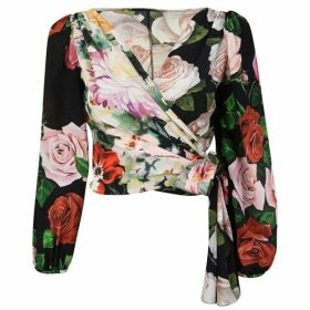 Dolce and Gabbana Flower Silk Wrap Top