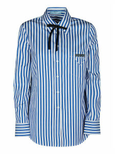 Prada Logo Patched Stripe Shirt