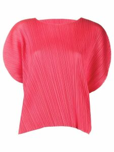 Pleats Please Issey Miyake Pleated Cut-out Sleeve Blouse