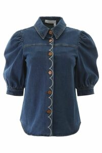 See by Chloé Denim Shirt With Scallop Embroidery