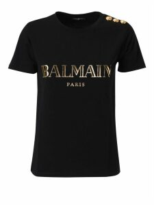 Balmain Button Embellished Logo T-shirt