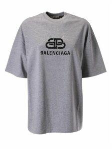 Balenciaga Oversized Centre Logo Print T-shirt