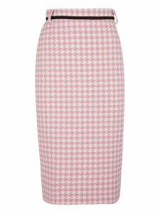 Houndstooth Belted Skirt