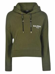 Balmain Flocked Logo Short Hoodie