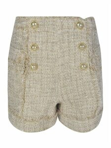 Balmain Six Button Tweed High-waist Shorts