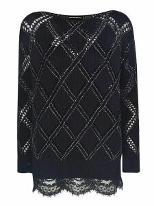 Ermanno Scervino Diamond Pattern Ribbed Sweater