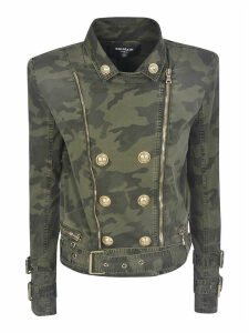 Balmain Double-breasted Camouflage Zip Jacket
