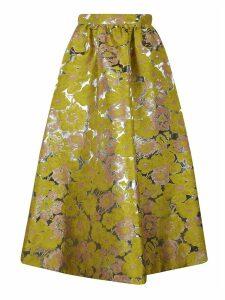 MSGM Floral Printed Metallic Skirt
