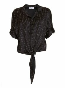 Saint Laurent Tie-front Polka-dot Silk Shirt