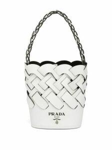 Prada woven bucket bag - White