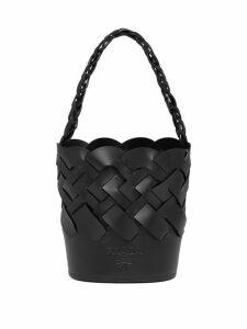 Prada large woven motif bucket bag - Black