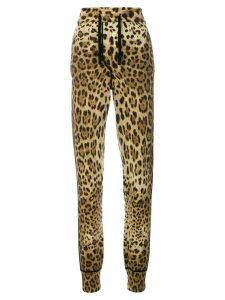 Dolce & Gabbana leopard print track pants - Brown