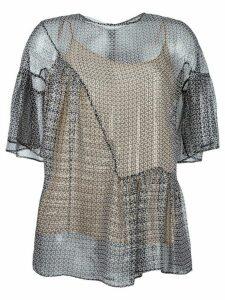Stella McCartney circle star flounce blouse - Black