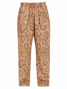 Mara Hoffman - Valerie Snake-print Paperbag-waist Trousers - Womens - Cream Print