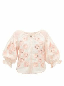 Innika Choo - Oliver Daily Embroidered Linen-poplin Blouse - Womens - Light Pink