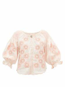 Innika Choo - Oliver Daily Embroidered Linen-poplin Blouse - Womens - Light Pink
