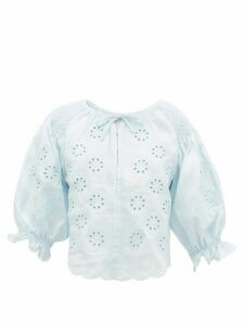 Innika Choo - Oliver Daily Embroidered Linen-poplin Blouse - Womens - Light Blue
