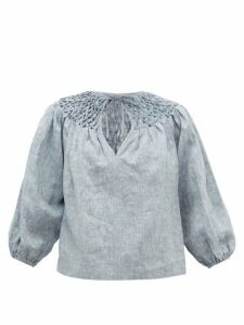 Innika Choo - Smocked-yoke Linen-chambray Blouse - Womens - Grey