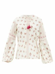 D'Ascoli - Montauk Floral-print Cotton Top - Womens - Red Print