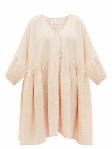 Anaak - Pia Pintucked Checked Cotton Shirtdress - Womens - Light Pink