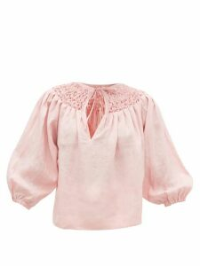 Innika Choo - Hope Filthorts Smocked Linen-chambray Blouse - Womens - Light Pink