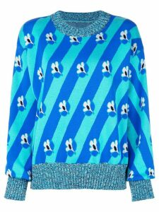 Mm6 Maison Margiela slouchy foral stripe sweater - Blue
