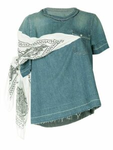 Sacai denim bandanna T-shirt - Blue
