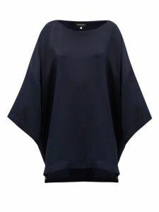 Eskandar - Boat-neck Oversized Silk-crepe T-shirt - Womens - Navy