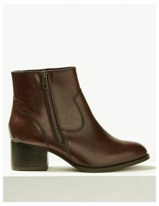 M&S Collection Wide Fit Leather Ankle Boots