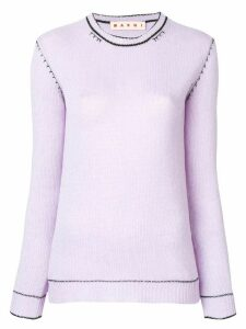 Marni slim-fit knitted cashmere sweater - PURPLE