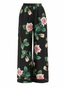 Dolce & Gabbana - Rose-print Silk Wide-leg Trousers - Womens - Black Multi