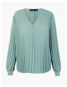 Autograph Pleated V-Neck Blouse