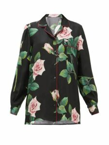 Dolce & Gabbana - Rose-print Silk-satin Shirt - Womens - Black Print