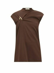 Bottega Veneta - Cap-sleeve Draped Jersey Top - Womens - Dark Brown