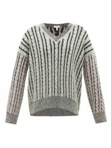 Loewe - Contrast-panel Cable-knit Wool Sweater - Womens - Grey