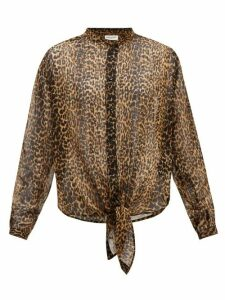 Saint Laurent - Leopard-print Asymmetric-hem Wool Blouse - Womens - Leopard