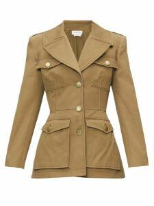 Alexander Mcqueen - Single-breasted Cotton-canvas Safari Jacket - Womens - Khaki
