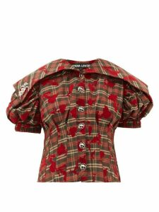 Chopova Lowena - Checked Floral-flocked Puff-sleeve Top - Womens - Black Red