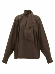 Matthew Adams Dolan - Pleated High-neck Cotton Poplin Blouse - Womens - Brown