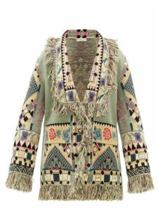 Etro - Gardenia Geometric-jacquard Wool-blend Cardigan - Womens - Green Multi