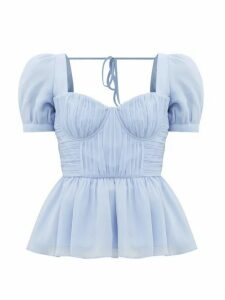 Self-portrait - Pleated Peplum-hem Crepe-chiffon Top - Womens - Light Blue