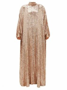 Ashish - Sheela High-neck Sequinned-georgette Tent Dress - Womens - Nude