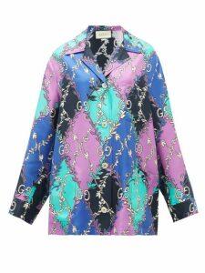 Gucci - GG Rhombus-print Silk-faille Shirt - Womens - Purple Multi