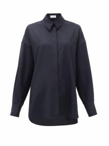 Raey - Oversized Step-hem Wool Shirt - Womens - Navy