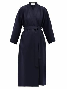 Harris Wharf London - Kimono-sleeve Belted Virgin-wool Coat - Womens - Navy