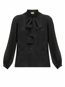Saint Laurent - Pussy-bow Swiss-dot Silk-blend Blouse - Womens - Black